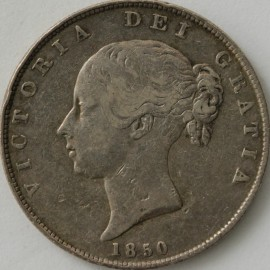 HALF CROWNS 1850  VICTORIA VERY SCARCE GF