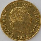 HALF SOVEREIGNS 1818  GEORGE III GEORGE III 8 OVER 8 GVF