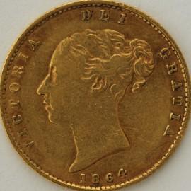 HALF SOVEREIGNS 1864  VICTORIA DIE NO 8