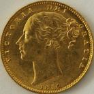 SOVEREIGNS 1854  VICTORIA LONDON SHIELD WW INCUSE
