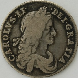 SHILLINGS 1663  CHARLES II 1ST BUST SCOTTISH AND IRISH SHIELDS TRANSPOSED ESC1024 RARE GF
