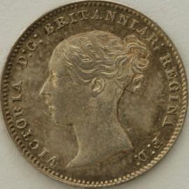 THREEPENCES SILVER 1851  VICTORIA VERY SCARCE UNC T