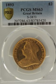 TWO POUNDS (GOLD) 1893  VICTORIA VICTORIA VEILED HEAD PCGS SLABBED