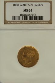 HALF SOVEREIGNS 1838  VICTORIA VICTORIA NGC SLABBED