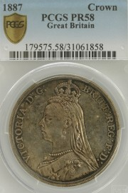 CROWNS 1887  VICTORIA PROOF ISSUE RARE PCGS SLABBED