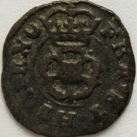 FARTHINGS 1625 -1649 CHARLES I ROSE TYPE2F MM CRESCENT S2203 VF