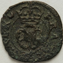 FARTHINGS 1625 -1649 CHARLES I ROSE MM CRESECENT BOTH SIDES S3204 GF