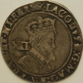 JAMES I 1607 -1609 JAMES I SHILLING 2ND COINAGE 4TH BUST MM CORONET