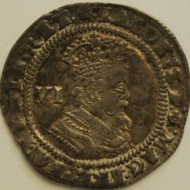 JAMES I 1619 -1625 JAMES I SIXPENCE 3RD COINAGE 6TH BUST MM THISTLE