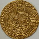 HAMMERED GOLD 1377 -1399 RICHARD II NOBLE CALAIS TYPE IIA NO FRENCH TITLE FLAG AT STERN OF SHIP MM CROSS PATTEE ON REV. ONLY  FULL FLAN NEF