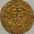 HAMMERED GOLD 1480 -1483 EDWARD IV Angel. 2nd Reign. Saltire Stops. London. MM Pierced Cinquefoil. Superb portrait