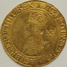 HAMMERED GOLD 1635 -1636 CHARLES I UNITE.TOWER MINT.GROUP D.5TH BUST WITH FALLING LACE COLLAR. MM CROWN TINY DIG ON HAIR