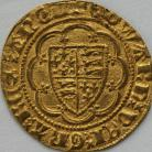 HAMMERED GOLD 1361 -1369 EDWARD III Quarter Noble treaty period LIS in centre MM cross potent