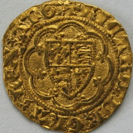 HAMMERED GOLD 1377 -1399 Richard II  QUARTER NOBLE LONDON TYPE IIIA PELLET IN CENTRE OF REVERSE MMCROSS PATTEE SCARCE FULL FLAN