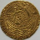 HAMMERED GOLD 1413 -1422 HENRY V Noble class C muluet by sword arm annulet on rudder broken annulet on side of ship MM pierced cross with pellet centre NEF