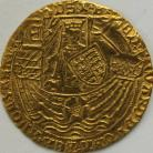 HAMMERED GOLD 1464 -1470 EDWARD IV RYAL (ROSE NOBLE) LIGHT COINAGE SMALL TREFOILS IN SPANDRELS LONDON MINT MM LONG CROSS FITCHEE GVF