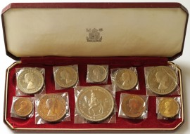 ENGLISH PROOF SETS 1953  Elizabeth II 1/4 D TO CROWN (10 Coins) 40,000  FDC*