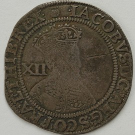 JAMES I 1603 -1604 JAMES I SHILLING. 1st coinage. 2nd bust. MM Thistle.