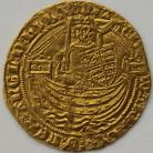 HAMMERED GOLD 1361 -1369 EDWARD III HALF NOBLE TREATY PERIOD LONDON MINT ANNULET BEFORE EDWARD MM CROSS POTENT ON REV ONLY SCARCE GVF