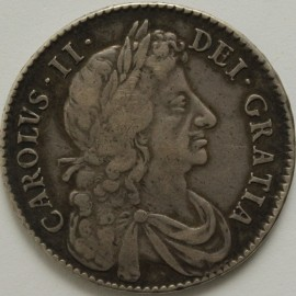 HALF CROWNS 1683  CHARLES II 4TH BUST QUINTO VF