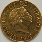 HALF SOVEREIGNS 1820  GEORGE III GEORGE III LAUREATE HEAD GEF