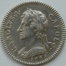 FARTHINGS 1665  CHARLES II PATTERN IN SILVER P407 GEF