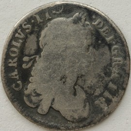 SHILLINGS 1663  CHARLES II 1ST BUST SCOTTISH AND IRISH SHIELDS TRANSPOSED RARE - PATCHY TONING F