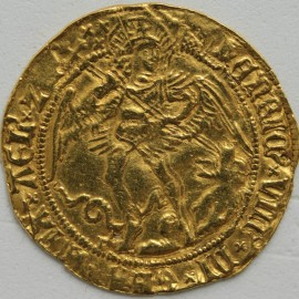 HAMMERED GOLD 1509 -1526 HENRY VIII ANGEL 1ST COINAGE MM PORTCULLIS  VF/GVF