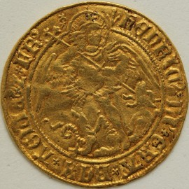 HAMMERED GOLD 1505 -1509 HENRY VII ANGEL CLASS V CROOK SHAPED ABBREVIATION AFTER HENRIC MM PHEON FULL FLAN VF