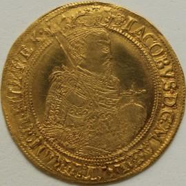 HAMMERED GOLD 1605 -1606 JAMES I UNITE 2ND COINAGE HALF LENGTH 2ND BUST MM ROSE LIGHT TOOLING ON BUST GEF
