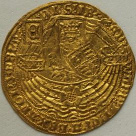 HAMMERED GOLD 1464 -1470 EDWARD IV RYAL 1ST REIGN LIGHT COINAGE FLEMISH IMITATIVE COINAGE LONDON TYPE 'E' ON FLAG AT STERN  EF