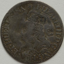 ELIZABETH I 1562  ELIZABETH I SIXPENCE MILLED COINAGE TALL BUST DECORATED DRESS SMALL ROSE REVERSE CROSS FOURCHEE MM STAR GF