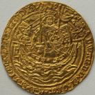 HAMMERED GOLD 1356 -1361 EDWARD III NOBLE 4TH COINAGE PRE-TREATY PERIOD SERIES G MM CROSS 3 KING WITH SWORD AND SHIELD STANDING IN SHIP NEF