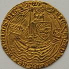 HAMMERED GOLD 1377 -1399 RICHARD II NOBLE CALAIS MINT TYPE IIA NO FRENCH TITLE FLAG AT STERN OF SHIP MM CROSS PATTEE ON REVERSE ONLY FULL FLAN GVF