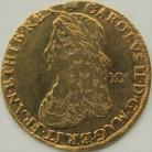 HAMMERED GOLD 1662  CHARLES II UNITE LAUREATE DRAPED AND CUIRASSED YOUTHFUL BUST VALUE XX BEHIND REVERSE CROWNED GARNISHED SHIELD DIVIDING CYPHER MM CROWN RARE VF/GVF