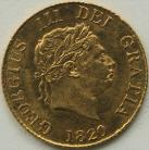 HALF SOVEREIGNS 1820  GEORGE III GEORGE III LAUREATE HEAD UNC LUS
