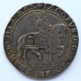 JAMES I 1623 -1624 JAMES I CROWN. 3rd coinage. King on horseback. Plain ground line below. Plume over shield. MM TREFOIL OVER LIS.